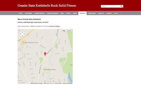 Screenshot of Maps & Directions Page gskbs.com - Directions - Granite State Kettlebells Rock Solid Fitness - captured Oct. 3, 2014