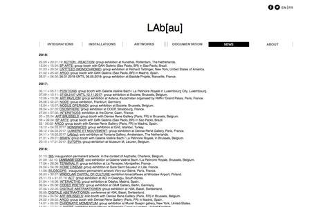 Screenshot of Press Page lab-au.com - LAb[au] | NEWS - captured July 13, 2018
