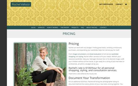 Screenshot of Pricing Page rachelvallozzi.com - Pricing | Rachel Vallozzi - captured March 26, 2016