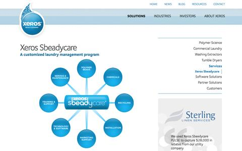Screenshot of Services Page xeroscleaning.com - SbeadyCare | Polymer Bead Cleaning | Commercial Laundry | Xeros - captured Feb. 21, 2016