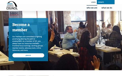 Screenshot of Signup Page cjc.net - Membership - Chicago Jobs Council - captured Sept. 27, 2018
