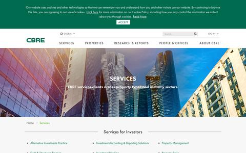 Screenshot of Services Page cbre.us - CBRE Global Services | Commercial Real Estate Service Overview | CBRE - captured Jan. 24, 2019