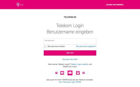 Screenshot of Login Page telekom.com - Telekom Login - captured Oct. 16, 2019