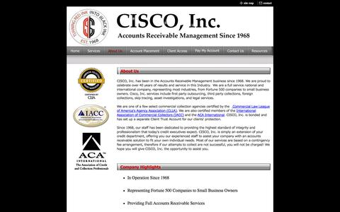 Screenshot of About Page ciscocollect.com - About Us - captured Oct. 1, 2014