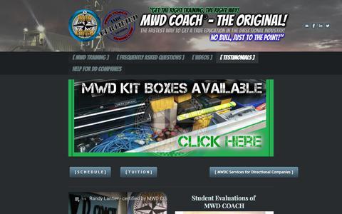 Screenshot of Testimonials Page mwdcoach.com - MWD COACH Endorsements - MWD Coach: the original - captured July 27, 2018