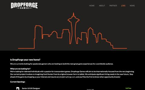Screenshot of Jobs Page dropforge.com - DropForge Games is Hiring! - captured Oct. 5, 2014