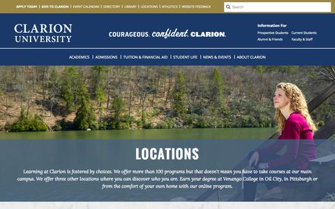 Screenshot of Locations Page clarion.edu - Locations - captured Nov. 4, 2014
