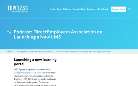 Screenshot of Case Studies Page wbtsystems.com - Podcast: DirectEmployers Association on Launching a New LMS | WBT Systems - captured Jan. 11, 2020