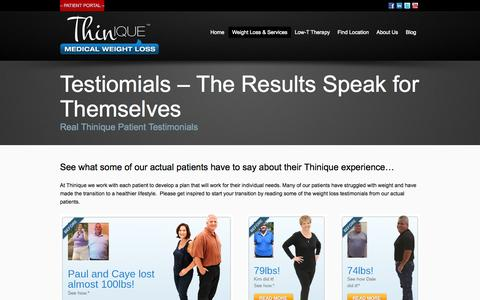 Screenshot of Testimonials Page thinique.com - Testiomials - The Results Speak for Themselves - Thinique - captured Sept. 21, 2015