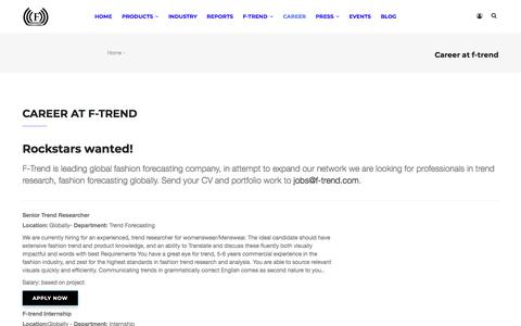 Screenshot of Jobs Page f-trend.com - Career at f-trend | f-trend - captured Sept. 6, 2018