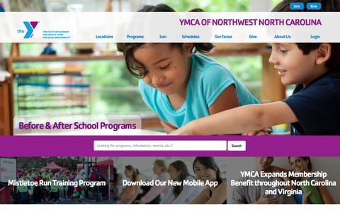 Screenshot of Home Page ymcanwnc.org - YMCA of Northwest North Carolina - captured Sept. 29, 2017