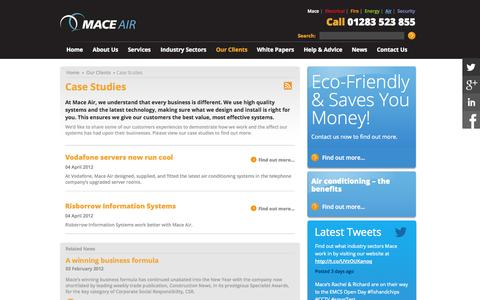 Screenshot of Case Studies Page maceair.co.uk - Air conditioning case studies, Burton, East Midlands |Mace Air - captured Sept. 30, 2014