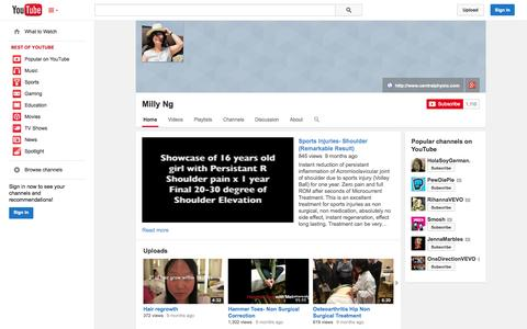 Screenshot of YouTube Page youtube.com - Milly Ng  - YouTube - captured Oct. 23, 2014