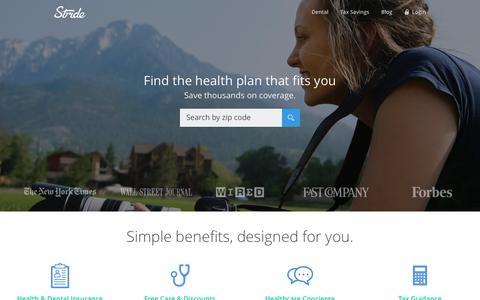 Screenshot of Home Page stridehealth.com - Stride Health - captured Dec. 1, 2016