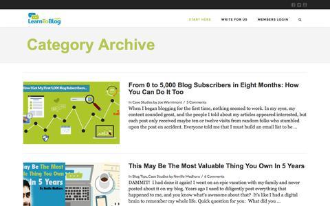 Screenshot of Case Studies Page learntoblog.com - Case Studies Archives   Learn To Blog - captured July 3, 2016