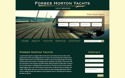 Screenshot of About Page Contact Page forbesyachts.com - Forbes Horton Yachts - Yacht Broker Annapolis MD - captured Oct. 23, 2014