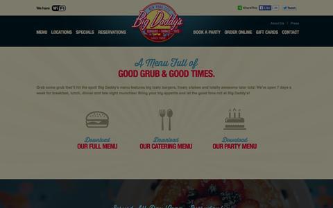 Screenshot of Menu Page bigdaddysnyc.com - Menu - Big Daddy's Restaurant - captured Oct. 5, 2014