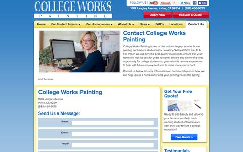 Screenshot of Contact Page collegeworks.com - Contact College Works Painting   CollegeWorks.com - captured Oct. 3, 2014