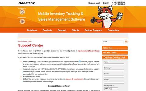 Screenshot of Support Page handifox.com - Support Center - QuickBooks Inventory - Stock Control Software - captured Dec. 7, 2015