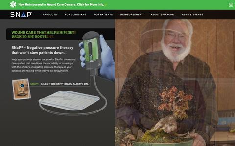 Screenshot of Home Page spiracur.com - SNaP Wound Care System - captured Sept. 17, 2014