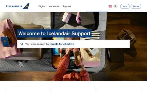 Screenshot of Support Page icelandair.com - Icelandair info, baggage. schedules & more   Icelandair - captured Sept. 11, 2018