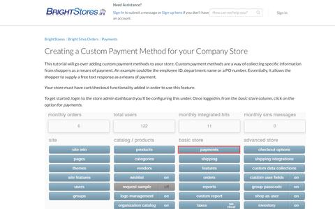 Screenshot of Support Page brightstores.com - Creating a Custom Payment Method for your Company Store - BrightStores Support - captured Jan. 2, 2020