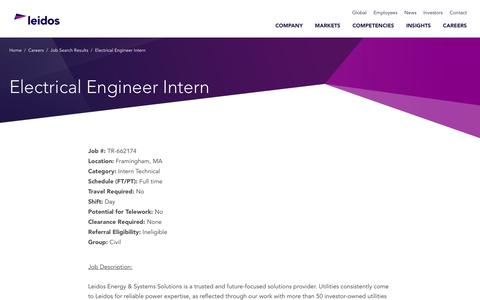 Screenshot of Jobs Page leidos.com - Electrical Engineer Intern in Framingham, MA - Leidos - captured Jan. 29, 2019