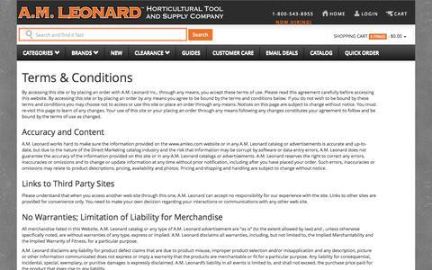 Screenshot of Terms Page amleo.com - Terms & Conditions | A.M. Leonard - captured Sept. 19, 2014