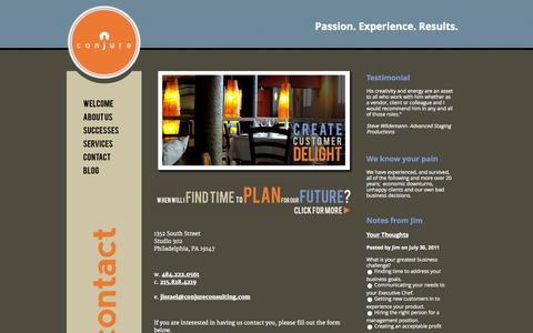 Screenshot of Contact Page conjureconsulting.com - Conjure Consulting: creating solutions for the restaurant industry | Welcome - captured Sept. 30, 2014