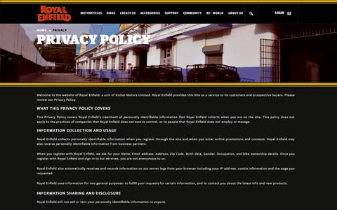 Screenshot of Privacy Page royalenfield.com - Privacy - Royal Enfield - captured Sept. 18, 2014