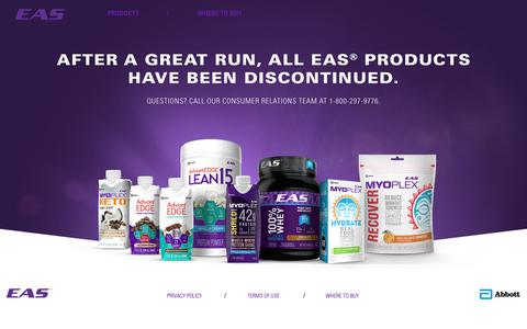Screenshot of Home Page eas.com - Performance Nutrition Products & Protein Supplements   EAS - captured Nov. 7, 2018