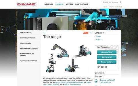 Screenshot of Products Page kclifttrucks.com - The range | Konecranes Lift Trucks - captured March 2, 2016
