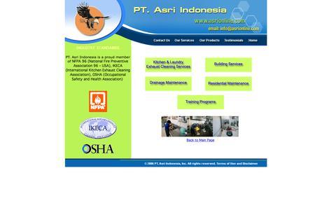 Screenshot of Services Page asrionline.com - Asri Services - captured Nov. 15, 2016