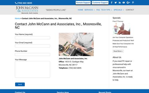 Screenshot of Contact Page Support Page mccannassociates.com - Contact John McCann and Associates, Inc., Mooresville, NC - captured Oct. 16, 2017