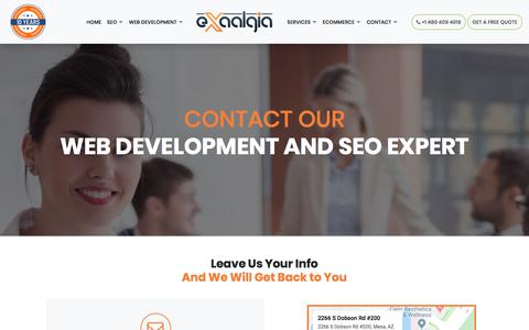 Screenshot of Contact Page exaalgia.com - Contact Web Development & SEO Expert Phoenix USA - captured Jan. 11, 2020