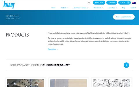 Screenshot of Products Page knauf.solutions - Products   Knauf Australia   Leader in Lightweight Construction Solutions - captured June 15, 2019