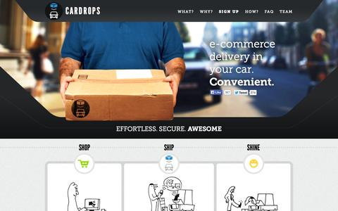Screenshot of Home Page cardrops.com - Cardrops, your car becomes an e-commerce delivery point - captured Sept. 27, 2014