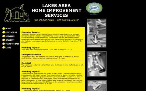 Screenshot of Testimonials Page lakesareahis.com - Lakes Area Home - captured Oct. 2, 2014
