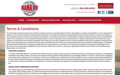 Screenshot of Terms Page bamarv.com - Terms | Bama RV | Dothan Alabama - captured May 31, 2017