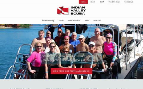 Screenshot of Home Page indianvalleyscuba.com - Indian Valley Scuba - Dive Training, Gear, and Travel Adventures - captured Sept. 13, 2018