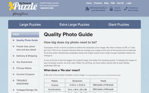 Screenshot of FAQ Page mypersonalpuzzle.com - My Personal Puzzle :: Quality Photo Guide - captured Sept. 20, 2018