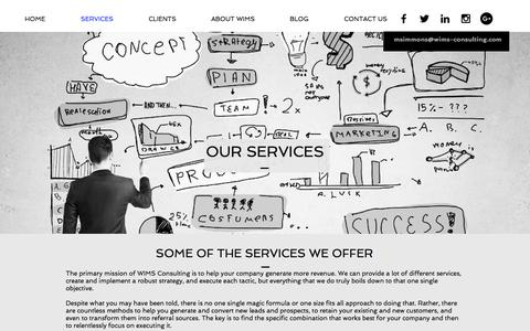 Screenshot of Services Page wims-consulting.com - WIMS Consulting Services - captured Oct. 27, 2017