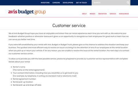 Screenshot of Support Page avisbudgetgroup.com - Customer Service – Avis Budget Group - captured Feb. 12, 2019