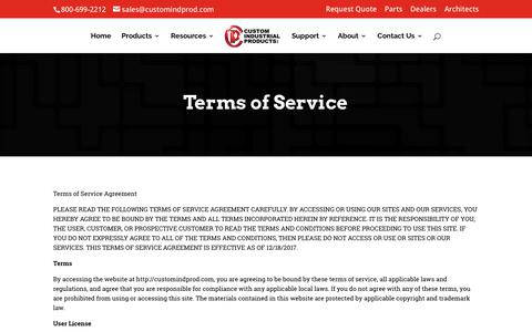 Screenshot of Terms Page customindprod.com - Terms of Service | Custom Industrial Products - captured March 8, 2018