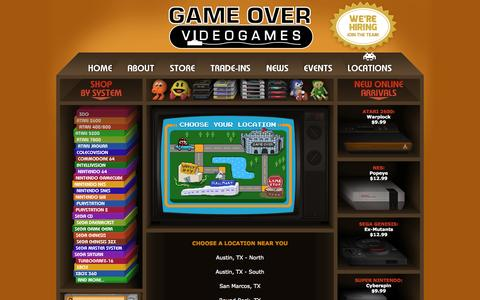 Screenshot of Locations Page gameovervideogames.com - Game Over Videogames - Locations - captured Sept. 19, 2014