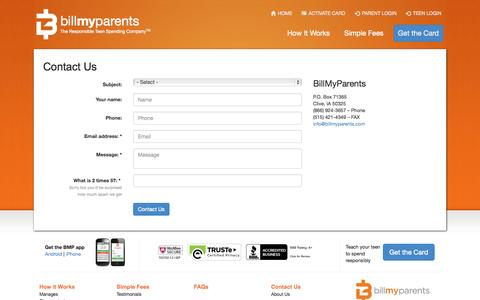 Screenshot of Contact Page billmyparents.com - The BillMyParents Card - captured Sept. 13, 2014