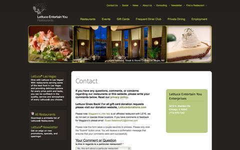 Screenshot of Contact Page leye.com - Contact | Lettuce Entertain You - captured Sept. 19, 2014