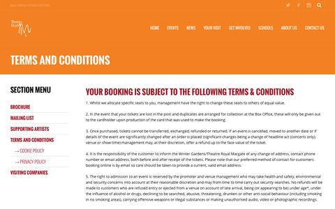 Screenshot of Terms Page theatreroyalmargate.com - Terms and Conditions ‹ Theatre Royal Margate - captured Oct. 9, 2014