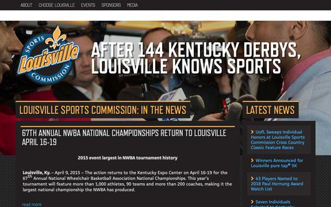 Screenshot of Press Page louisvillesports.org - Louisville Sports Commission - Louisville Knows Sports  » In The News - captured Sept. 29, 2018