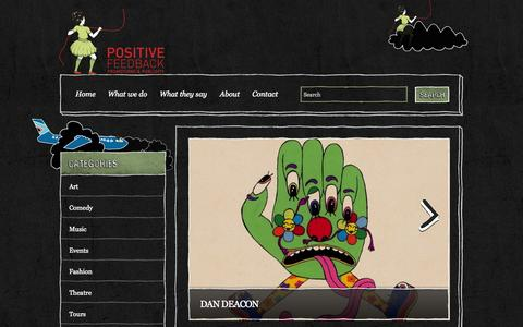 Screenshot of Home Page positive-feedback.com.au - Positive Feedback | Positive Feedback is an independent and unique marketing, promotions and publicity agency.Positive Feedback | Positive Feedback is an independent and unique marketing, promotions and publicity agency. - captured Jan. 27, 2015